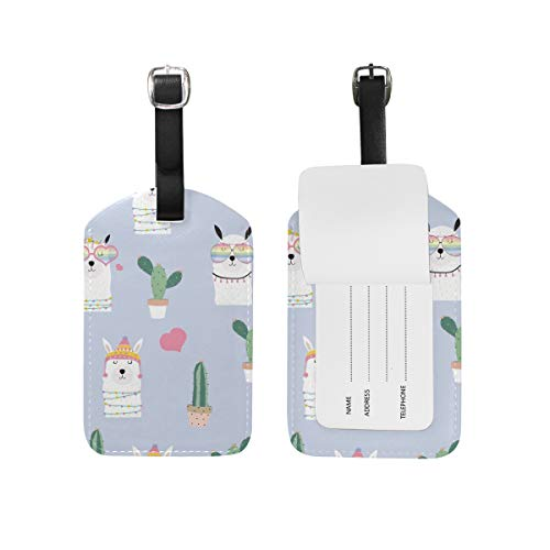 My Daily Alpaca Lama Cactus Luggage Tag PU Leather Bag Suitcases Baggage Label 2 Pieces Set