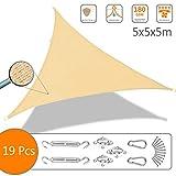 VOUNOT Tenda a Vela Parasole Triangolare 5x5x5m, 19 Pezzi Kit di Montaggio, Traspirante HDPE Protezione UV, per Esterno Giardino, Avorio