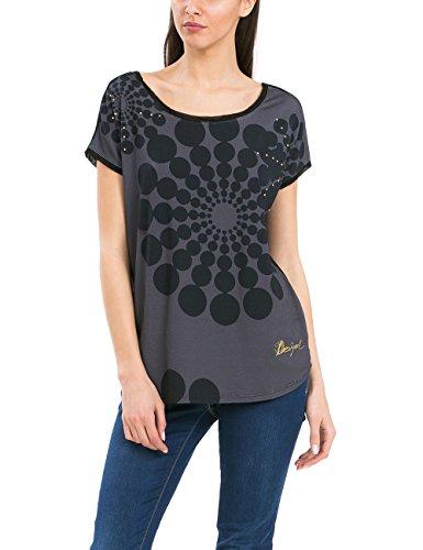 Desigual TS_GENRI, Camiseta Para Mujer, Multicolor (Gris Tormenta 2020), 36 (Talla fabricante: XS)