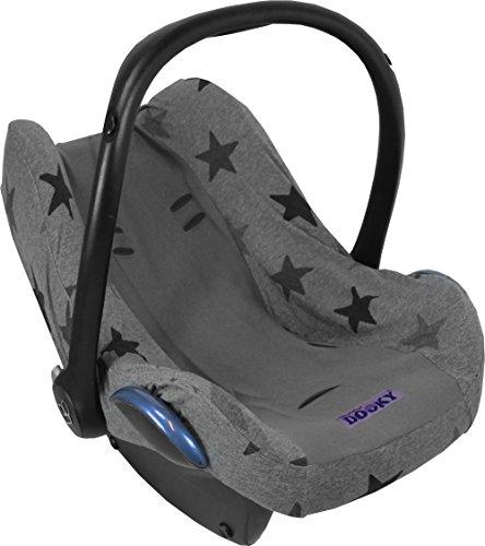 Original Dooky Seat Cover Schonbezug Grey Stars für Babyschale Universalgröße geeignet für 3 und 5 Punkt Gurtsystem Autositz, für Altersgruppe 0+, grau