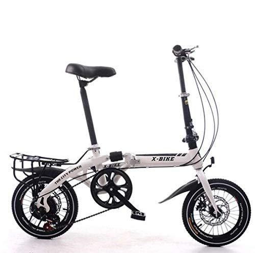 SHIN Bicicleta Plegable para Adultos Rueda De 16 Pulgadas Bici Mujer Retro Folding City Bike Velocidad única,Manillar Y Sillin Confort Ajustables,Capacidad 120kg / Blanco / 14in