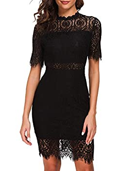 Zalalus Women s Lace Dresses for Cocktail Wedding Party Elegant High Neck Short Sleeves Above Knee Length Summer Bodycon Casual Midi Dress Black US 10