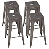 FDW Metal Bar Stools Set of 4 Counter Height Barstool 24 Inches Industrial Bar Chairs Patio Stool Stackable Backless Stool Indoor Outdoor Metal Kitchen Stools Bar Chairs,Bronze