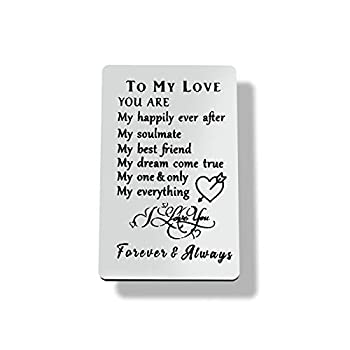 Engraved Wallet Card Inserts To My Love Gift for Men,Husband Gift Boyfriend Gift Soulmate Wedding Anniversary Valentine Christmas Birthday Gift for Him Her Lover Wife Girlfriend Mini Love Note Insert