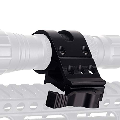 ToopMount 45-Degree 25.4mm Offset Mount with QD Quick Release Base Angled Offset Low Profile Mount 20mm Rail Size for Flashlight/Light Devices Aluminum Picatinny/Weaver