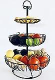 Auroni Obst Etagere 3 stöckig Obstkorb Obstschale Metall - schwarz-matt - sehr...