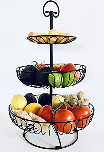 Auroni Obst Etagere 3 stöckig Obstkorb Obstschale Metall - schwarz-matt - sehr dekorativ für mehr Platz auf der Arbeitsplatte Küche - 47 cm hoch, max. Durchm. 30 cm extra viel Platz stabil