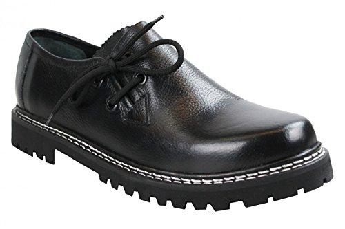 German Wear Haferlschuhe Trachtenschuhe aus Glattleder, Original-Handmachart, Schuhgröße:43;Farbe:Schwarz