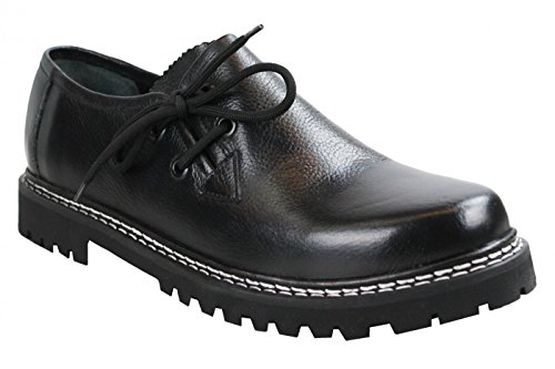 German Wear Haferlschuhe Trachtenschuhe aus Glattleder, Original-Handmachart, Schuhgröße:45;Farbe:Schwarz