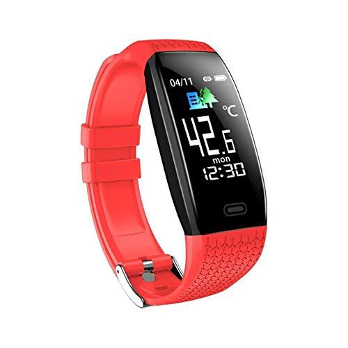 LYB Pulsera inteligente resistente al agua, monitor de ritmo cardíaco, pulsera deportiva, reloj inteligente para teléfono (color rojo)