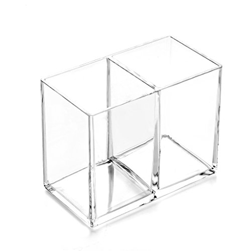 HanLingGG Clear Acrylic Makeup Brush Holder Pen Pencil Cup Holder Cosmetic Storage Case Desktop Stationery Organizer with 2 Compartments for Home Office and School