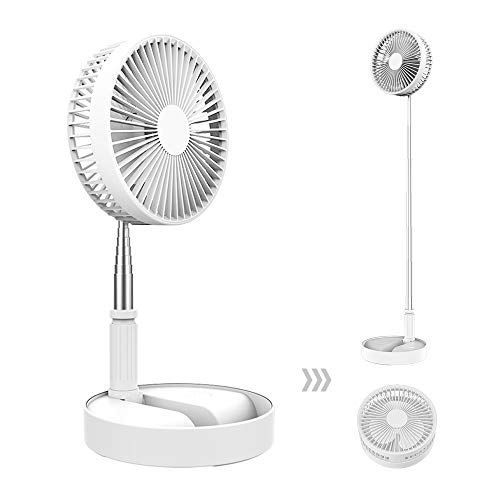 Desk and table fan, Air Circulator Fan Portable Travel Mini Fans Battery Operated or USB Powered,Adjustable Height from 14.2 inch to 3.3ft as Pedestal stand floor Fan, 4 Speed Settings (White)