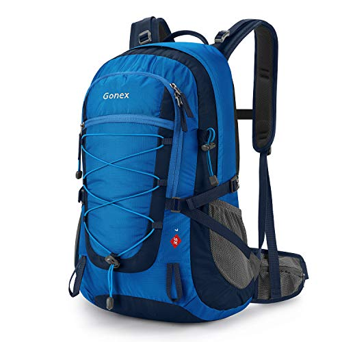 Gonex Updated 35L Hiking Backpack, Camping Outdoor Trekking Daypack, Waterproof and Backpack Cover Included (Blue)