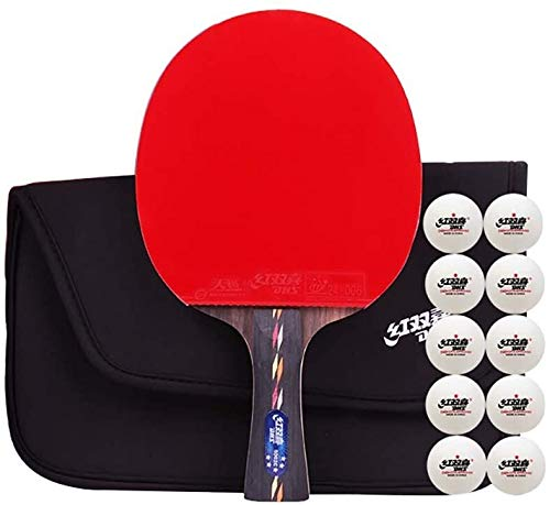 REWD Sets de Ping Pong Mesa de Ping Pong Raqueta 4 Estrella Profesional Paleta de Ping Pong Paleta de Ping Pong con la tecnología de Carbono for el Torneo Play, con Estuche de Transporte + 10 Bolas