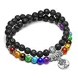 CrystalTears 108 Perlen mala Kette Wickelarmband 7 Chakra Tibetische Buddhistische gebetskette Armband Meditations 6mm Rock Lavasteine Halskette mit OM Lotus Buddhas Hand anhänger (54 Perlen)
