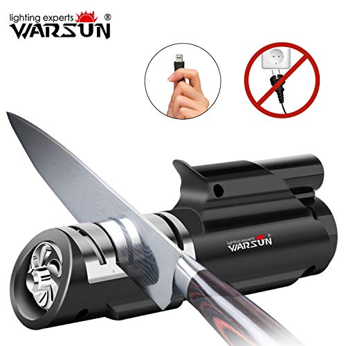 Warsun Knife Sharpener,Wireless Electric Rechargeable Knife Sharpener,2-Stage Knife Sharpening,...