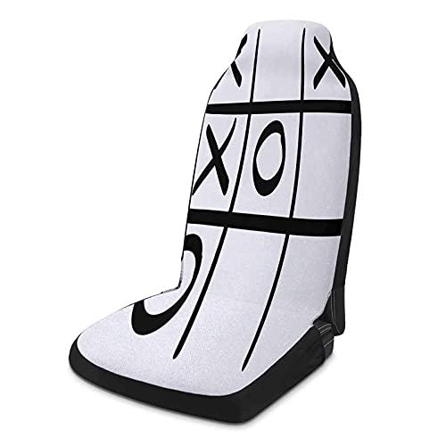 MIHPS-23S_F&F Fundas de asiento de coche personalizadas, 2 piezas, Xo Tic Tac Toe patrón sin terminar juego Hobby Tema Alfabeto Minimalista Imagen Artful Auto Seat Cover Negro y Blanco