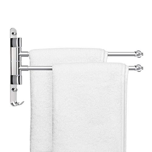 YOOKEA Handtuchhalter Bad mit 2 Armen, Handtuchhalter Ohne Bohren, 180° Drehung Edelstahl Handtuchhalterung Wand, Silber