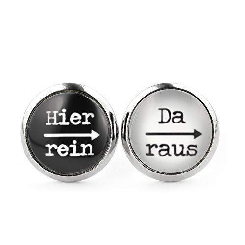 SCHMUCKZUCKER Damen Herren Unisex Ohrstecker mit Spruch Hier rein - da raus Lustige Edelstahl Ohrringe Silber Schwarz & Weiß 12mm