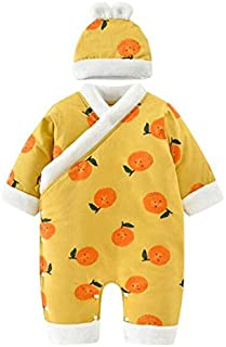 Aiweijia Rompers Baby Onesies Jumpsuit Newborn Christening Gowns Robes Chinese Traditional Style with Hat