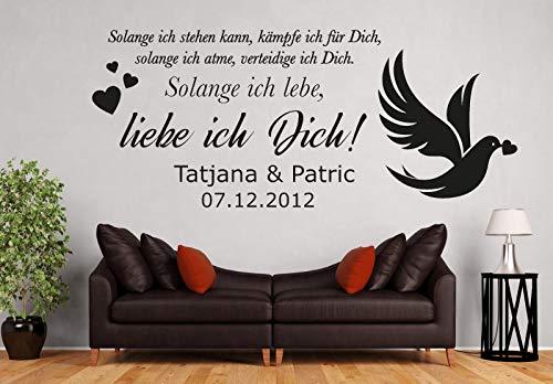 tjapalo® pkm487 Wandtattoo Schlafzimmer liebe Wandtattoo liebessprüche Wandsticker liebespaar so lange ich lebe Liebe ich Dich mit 2 Wunschnamen und Datum, Farbe: Schwarz, Größe: B150xH58cm