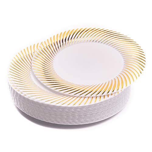 Matana 20 Piatti Piccoli in Plastica Rigida Bianca con Bordo Dorato, Piatti da Dessert, 18cm - Eleganti, Resistente e Riutilizzabili.