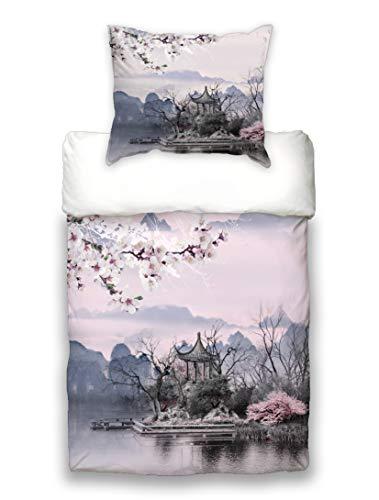 "beties \""Japan-Hanami Kirschblüten Wende Bettwäsche ca .135x200 cm + 80x80 cm feinste Baumwolle"