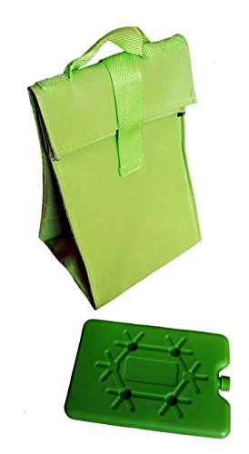Isoliertasche faltbar, Kühltasche 25 x 17 x 14cm , isolierte Tasche mit Kühlakku (grün)