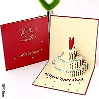 誕生日パーティーステレオグリーティングカード ピエロケーキグリーティングカード 創造的な3 D手作りの紙彫刻感謝祭カード ギフトグリーティングカード 1個/5個/10個/20個 AB467 (AB454A,1個)
