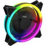 GameMax Velocity - Ventilador de refrigeración para PC (120 mm, Arco Iris, Doble Anillo, rodamiento hidráulico, Ventilador de 11 Hoja, Conector de 3 Pines, sincronización de luz mística RGB   Negro