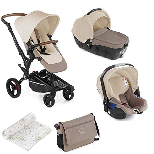 Jané Rider - Cochecito de bebe 3 piezas, capazo y portabebé homologados y silla de paseo, con bolso y plástico de lluvia, plegado compacto, hamaca reversible, unisex, Color Bronce