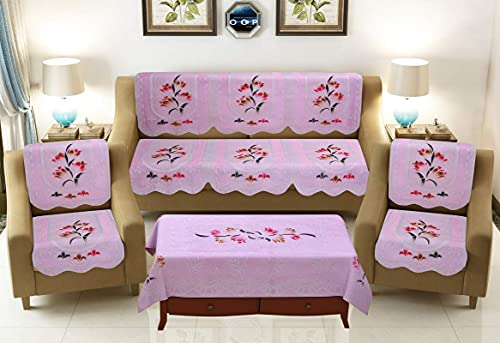 Castiqa Floral Design Cotton Fabric Sofa Covers Set for 5 Seater Sofa with Table Cover Color-Pink