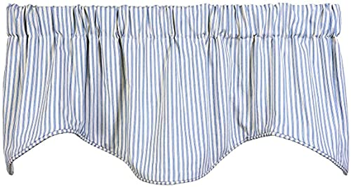 Decorative Things Window Treatments Valance Curtains Kitchen Window Valances or Living Room Ticking Stripe Blue