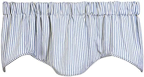 Window Treatments Valance Curtains Kitchen Window Valances or Living Room Ticking Stripe Light Blue