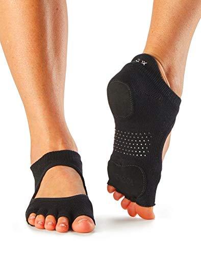 ToeSox Women's Prima Bellarina Half Toe Grip Socks With Leather Pads, Black, Small