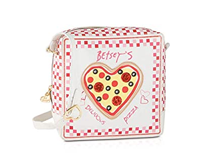 Betsey Johnson Kitch Pizza Box Kitch Crossbody Shoulder Bag - Cream