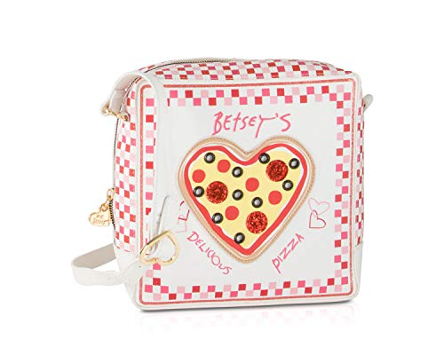 "Pizza Box square shaped, with 3D Pizza heart detail front Top zip closure with signature gold heart hardware pull, Back plaque Heart Buckle Adjustable Cross body strap with shoulder 23"" drop Spacious Fully Lined Interior, Enough space to fit your cel..."