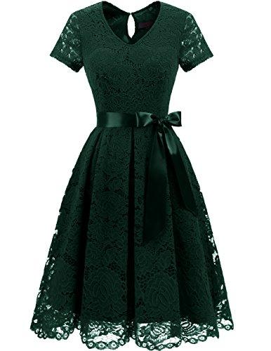 DRESSTELLS Damen Spitzenkleid Herzform Elegant Abendkleider Cocktail Party Floral Kleid DarkGreen Size in S