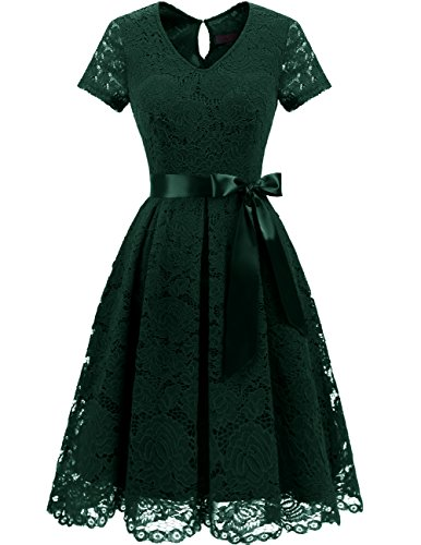 DRESSTELLS Damen Spitzenkleid Herzform Elegant Abendkleider Cocktail Party Floral Kleid DarkGreen Size in S