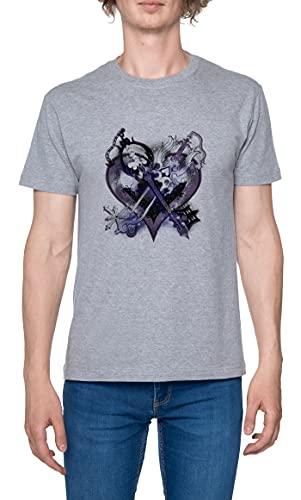 Reino Corazones Llaves Espada Camiseta para Hombre Gris De Manga Corta Ligera Informal con Cuello Redondo Men's Tshirt Grey M