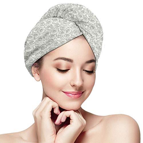 N/A Serviette à Cheveux en Microfibre Turban à séchage Rapide Bonnet de Bain, Style Esquisse Romantique Arrangement féminin Saint Valentin Love Roses
