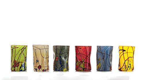 GOTO Juego 6 Vasos Coloreados Vidrio de Murano 300 mililitros, Hechos a Mano por un Maestro Vidriero Veneciano (Colección Pollock)