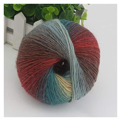 300grams Hilado de la isla de color de arco iris gradual de 300 gres Hecho de espesor 100% de hilo de lana para la mano de ganchillo de tejido de tejido de punto suéter hilado de fantasía grueso grues