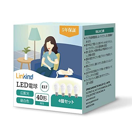 【五年保証】Linkind LED電球 口金直径E17 40形相当(3.7W) 440lm 昼白色 広配光 密閉形器具対応 長寿命40000時間 高演色 省エネ PSE認証 4個