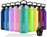 Grsta Botella Agua Acero Inoxidable - Termo para Agua Fria 350ml/Esmeralda Botella Termica sin BPA Aislamiento de Vacío de Doble Pared Reutilizable para Niños, Colegio, Sport, Familia