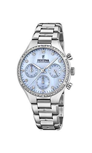 Festina Damen Chronograph Quarz Uhr mit Edelstahl Armband F20401/2