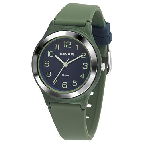 SINAR Jungen-Armbanduhr Sportuhr Fitness analog Quarz 10 Bar wasserdicht grün blau XB-48-3