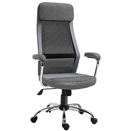Vinsetto Bürostuhl Computerstuhl ergonomischer Schreibtischstuhl Höhenverstellung und Kopfstütze mit Schaumstoff nordischer Stil hellgrau+schwarz 65 x 60 x 119-129 cm