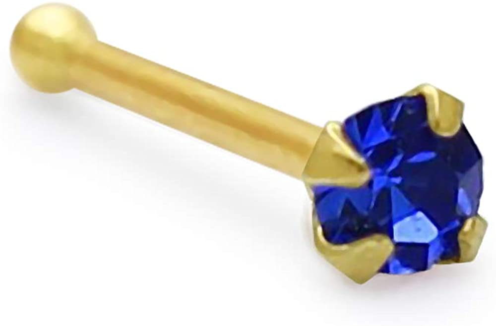 PiercingPoint Blue Sapphire Genuine Crystal Max 66% OFF 9ct Yell Solid Stone Detroit Mall