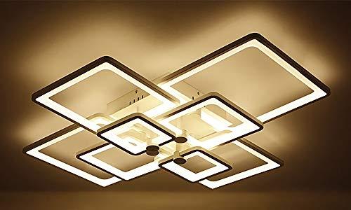 VOVOVO LED Deckenleuchte, Innen dimmbar Deckenlampe mit Fernbedienung, Modern Acryl 8Quadrat Kronleuchte, Geometrisch Dekorative Lampe für Wohnzimmer Schlafzimmer Esszimmer (90W)